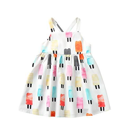 LISSHOW Kleinkind Kinder Baby Mädchen Sommer Mode Gurt EIS Backless Kleid Kleid Baby Mädchen Festzug Ärmellos Kleider Kleid Tupfen Hosenträger Prinzessin Kuchen Kleid Kleid 90-130 1-6 Jahre