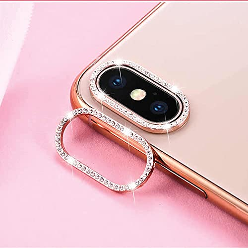 Best Shopper - Glitter Rhinestone Camera Lens Film Protective Case Lens Protector Compatible with Apple iPhone Xs Max - Rose Gold