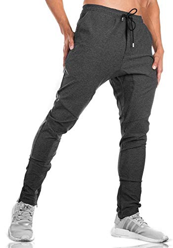 TBMPOY Men's Active Workout Sweatpants Lightweight Drawstring Fitness Trouser(Dark Grey,US L)