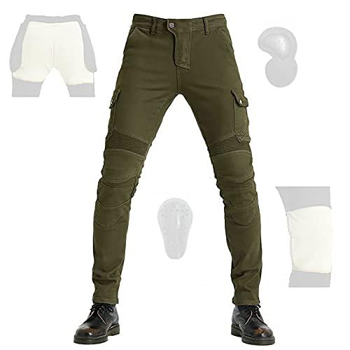 CYLZRCl Pantalones Moto Motociclistas Hombres Chaparreras protección Montar Pantalones Moto Pantalones Motociclista con 2 Pares Almohadillas Protectoras, Moda (Color : Green, Tamaño : XXL)