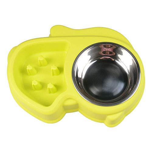 Pet Wasserfutter Tablett Pet Supplies Hund Anti-Choke-Schüssel Großhandel Teddy Slow Food Slow Food Bowl Niedlich rutschfest Anti-Rutsch-Doppelschüssel Edelstahl (Gelb - M)