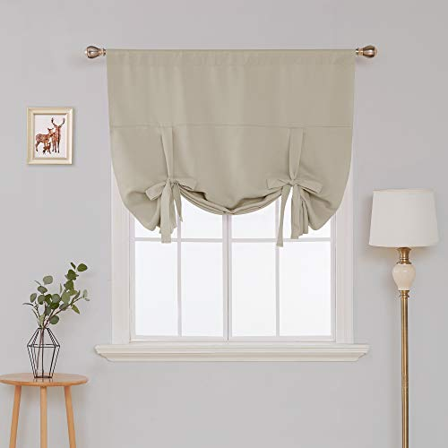 Deconovo Solid Color Rod Pocket Blackout Beige Curtains Tie Up Shade for Small Window Beige 46W x 63L 1 Panel