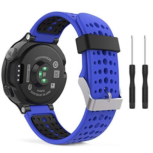MoKo Forerunner 235/220 / 230/620 / 630/735 Correa - Reemplazo Suave Silicona Watch Band Deportiva Accessorios de Reloj Pulsera Ajustable con Cierre de Clip - Azul Real & Negro