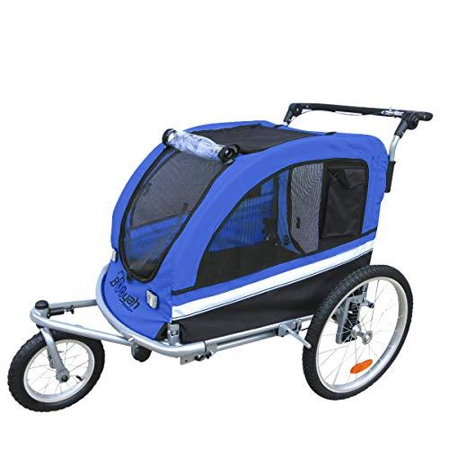 Booyah Large Pet Trailer Pet Bike Trailer & Jogger with Shocks - Blue