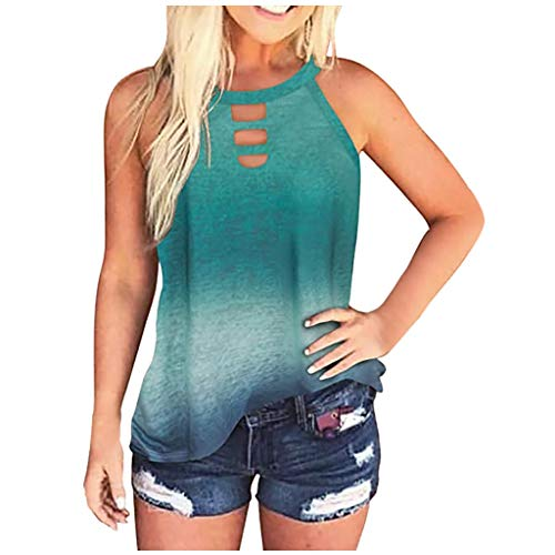 Aniywn Women's Tie Dye Leopard Print Sleeveless Tank Top Halter Summer Loose Casual Beach Cami Tee Shirt Blouses