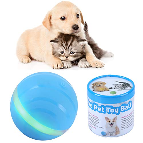IMYMAX Cats and Dogs Pets Toys Wicked Balls with USB Rechargeable RGB LED Lights Waterproof Smart Interactive Toys Chew Training Ball 100% Automatic Ball to Keep Your Pets Entertained All Day (Blue)