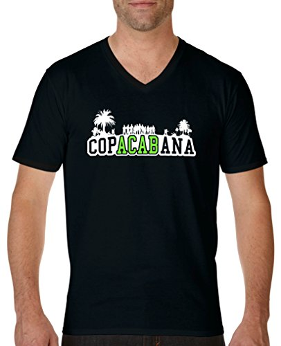 Comedy Shirts - Copacabana Palmen - Herren V-Neck T-Shirt - Schwarz/Weiss-Neongrün Gr. M