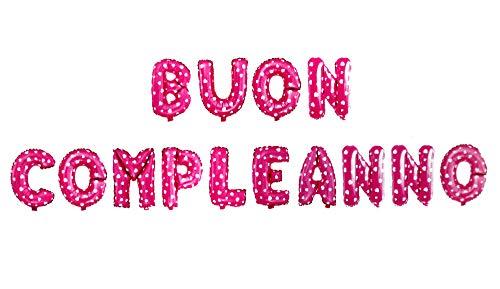 Vetrineinrete® Palloncini Buon Compleanno Scritta Gigante Decorazioni per Festa Party Festone Striscione Gonfiabile con Cannuccia Vari Colori (Rosa) M62
