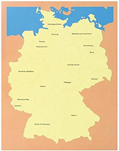 Deutschland-Puzzle, Kommode mit 4 Karten aus Holz