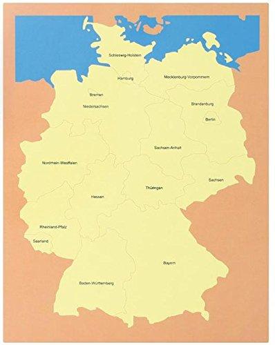 Puzle de Alemania, cómoda con 4 cartas de madera