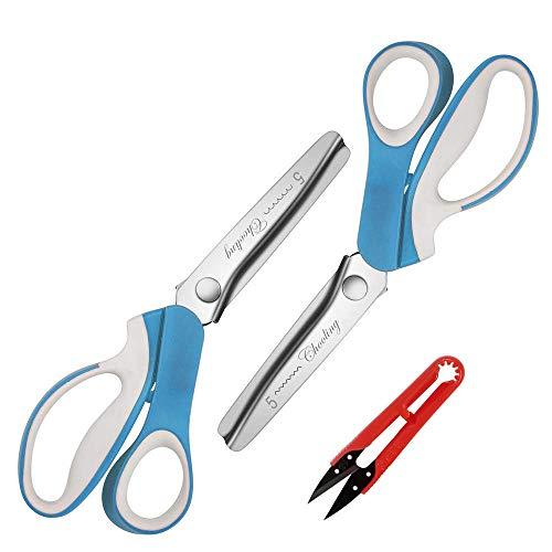 Chooling - Set di 2 forbici a zig-zag per tessuti e pelle, con bordi seghettati e smerlati Pinking Shear Set (Pack of 2 PCS)-