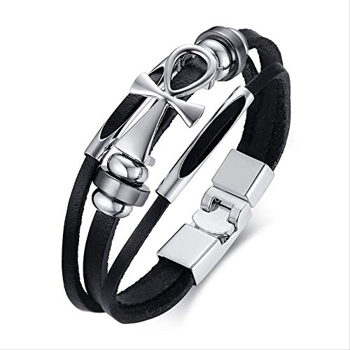 CHIY-GBC Stainless Steel Cross Anklet Mens Leather Wristband Multilayer Bracelet Egyptian Crux Anklet Male Jewelry