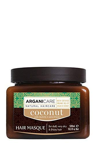 Arganicare Nourishing Coconut Hair Mask with Certified Organic Moroccan Argan and Coconut Oils for dull, very dry and frizzy hair 16.9 fl oz