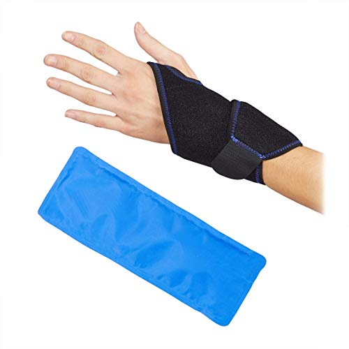 Relaxdays Kühlpad Handgelenk, bei Gelenkschmerzen, Sehnenentzündung, warm/kalt, Neopren Bandage & Gelpack, schwarz/blau