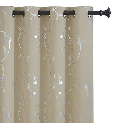 BUHUA Wave Floral Vine Print Blackout Curtains for Living Room Darkening Curtains Print Pattern Light Blocking Curtains for Bedroom 52W×84L Beige 2 Panels