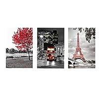 Ipea 赤い木の塔のキャンバスの絵画北欧スタイルのポスターとプリントリビングルームの装飾のための壁の芸術の写真-20X28インチX3フレームなし