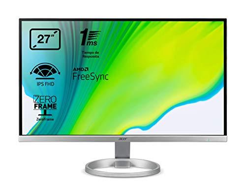 Acer R270SI - Monitor 27' Full HD 60 Hz (69cm, 1920x1080, Pantalla IPS LED, ZeroFrame, FreeSync, Tiempo de Respuesta 1ms (VRB), 250 nits, VGA, HDMI, EcoDisplay) - Color Plata