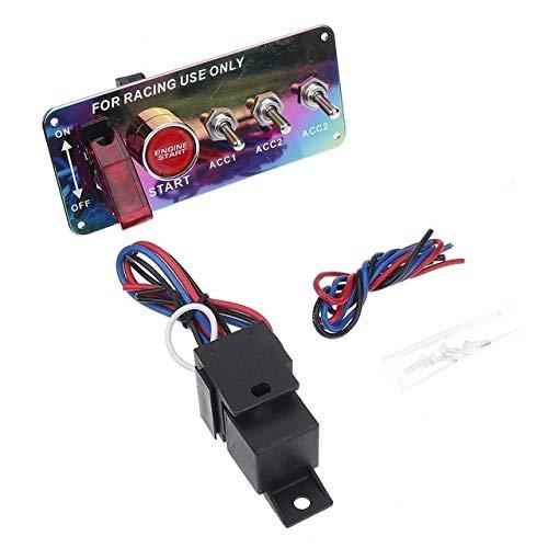 XXYHYQHJDel Interruptor de Encendido del Panel DC 12V 15 * 6,6 * 6,3 cm for Racing del Coche LED de Palanca de Arranque del Motor del Interruptor del Empuje del botón de Accesorios