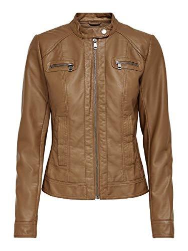 Only ONLBANDIT Faux Leather Biker Otw Noos Giacca, Marrone (Braun (Cognac), 40 Donna