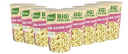 Knorr Big Pasta Snack Pot Käse-Sahne-Sauce leckeres Nudelgericht fertig in nur 5 Minuten, 8 x 92 g Becher