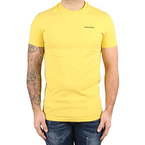 DSQUARED Herren-T-Shirt, Rundhalsausschnitt, Gelb, 2 Stück Gr. S, gelb