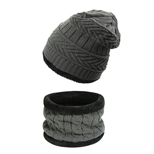 Hombre de invierno Hombre Sombrero Sombrero Set Detínico tapa de cráneo de punto cálido con bufanda para hombres y mujeres