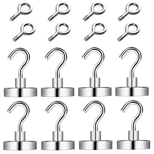 OGORI Magnethaken, 25MM Magnet Haken hält 30Kg Extra 8 Ringhaken Super Starker Magnete mit Haken für Kreuzfahrtkabine, Haus, Büro, Klassenzimmer, Schließfächer(8 Stück)