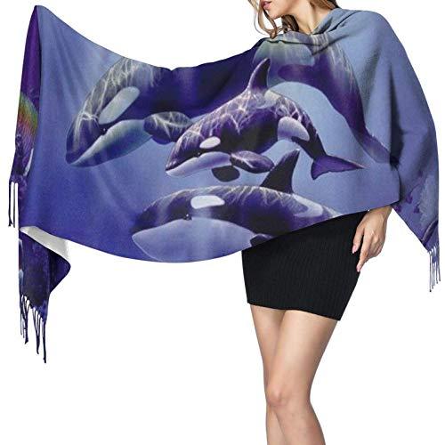 DISADI Bufanda de cachemira con estampado de ballenas asesinas, bufanda grande, suave y cálida, bufanda con borlas, 77 'x 27'