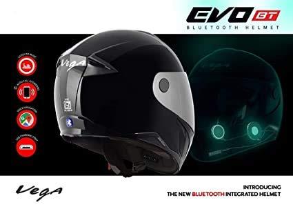 Vega Evo BT Bluetooth Helmet (Black, M)