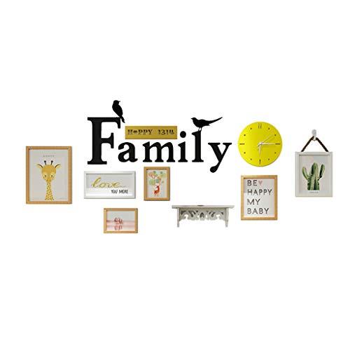 Conjunto de Marcos de Fotos de la Familia para la Pared, Madera Maciza 6 PCS Multi Pack Cuadro Marco con Ventana de Vidrio Real y alfombras de Fotos, Reloj de Pared,A