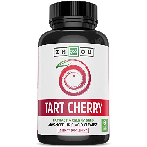 Zhou Nutrition Tart Cherry Extract Capsules with Celery Seed - Advanced Uric Acid Cleanse for Joint Comfort, Healthy Sleep Cycles & Muscle Recovery - Potent Polyphenols Supplement - 60 Veggie Capsules