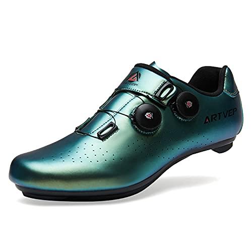 Zapatillas de Ciclismo para Hombre Zapatillas de Bicicleta de Carretera para Mujer compatibles con Look SPD SPD-SL Delta Cleats Zapatillas de Spinning para Interiores Exteriores Verde275