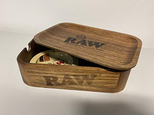 RAW 19341 Cache Box Small Wood Rolling Tray und kostenlosen Metall Aschenbecher, Holz