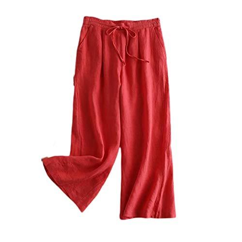 LQS72 Pantaloni Palazzo da Donna a Gamba Larga Comodi Pantaloni da Salotto Pantaloni da Spiaggia in Lino con Coulisse in Vita