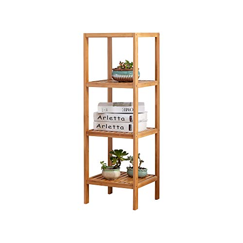 Zoopolyn 100% Bamboo Bathroom Shelf 13 x 13 x 39 inches 4-Tier Multifunction Storage Rack Unit Natural
