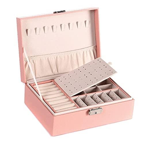 TEAYASON Caja de joyería para mujer de doble capa con cerradura apilable organizador de joyas soporte para collar y joyas, color negro, rosa