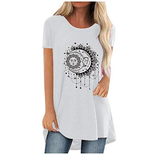 VEMOW Blusas y Camisas de Mujer Manga Corta, Impresión de Moda Primavera Verano Elegant Girasol Sol Luna Camisa Camiseta Larga Sudadera Casual Cuello Redondo Top Túnica Tops Jersey Largo(H Blanco,L)