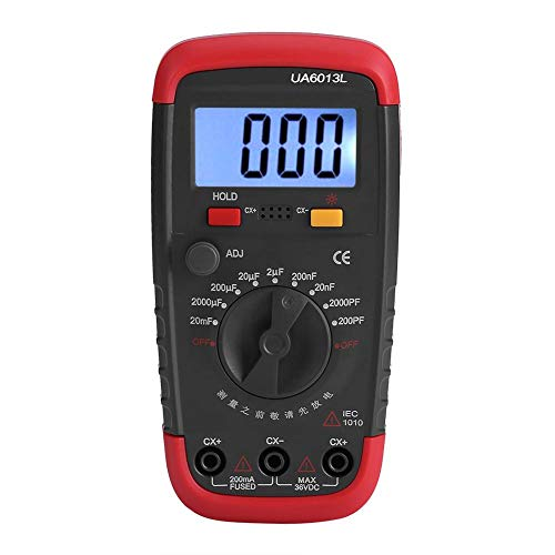 Digital Capacitance Meter Professional Capacitor Tester 0.1pF - 20000uF with LCD Backlight and Safety Jacket Max 1999 Display