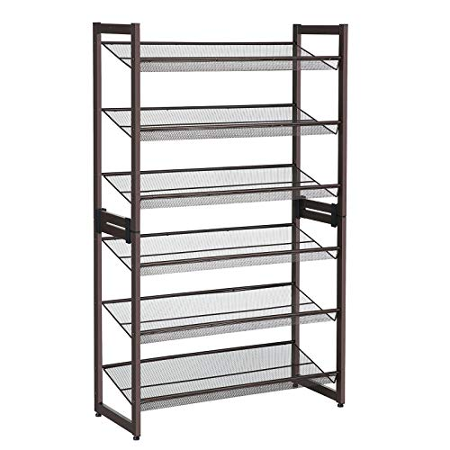 SONGMICS 6-Tier Shoe Rack, Set of 2 Stackable 3-Tier Shoe Organizer, Metal Mesh Shoe Shelf Storage for 18 to 24 Shoes, Adjustable Flat or Angled Shelves, Bronze ULMR03A-2