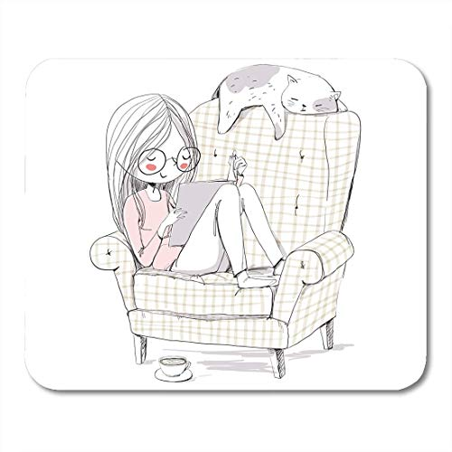 AOHOT Mauspads Read Girl Reading Book in Armchair Cat Kid Woman Cute Teen Glasses Mouse pad 9.5' x 7.9' for Notebooks,Desktop Computers Accessories Mini Office Supplies Mouse Mats