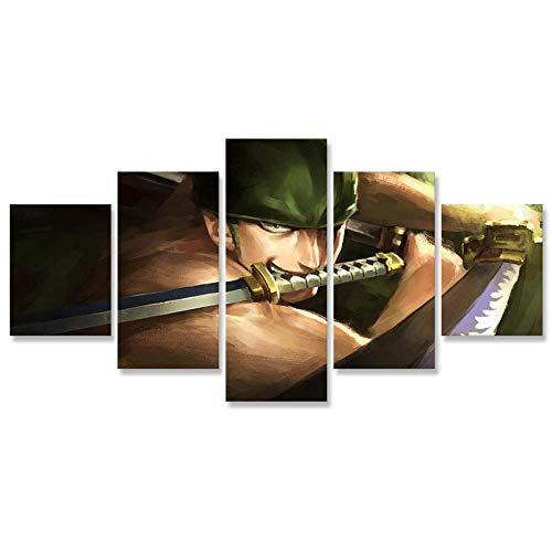 5 paneles doble cuchillo ninja imagen para sala de estar pintura lienzo pared artista decoración del hogar cartel HD impresiones modulares-8x14/18/22inch Without frame