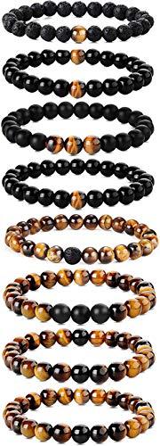 CASSIECA 8 STÜCKE 8MM Beads Armbänder für Herren Frauen Vulkangestein Gelb Tigerauge Naturstein Armband Biker Goth Punk Elastische Armband Set