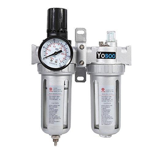 Yosoo Compresor de Aire Trampa de Humedad Filtro de Agua y Aceite Regulador de...