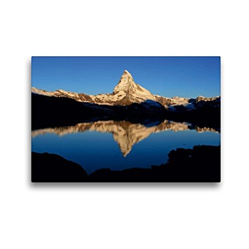 Premium Textil-Leinwand 45 x 30 cm Quer-Format Stellisee mit Matterhorn | Wandbild, HD-Bild auf Keilrahmen, Fertigbild auf hochwertigem Vlies, Leinwanddruck von Günter Franz Müller Fotografie