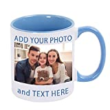 Custom Photo Coffee Mugs, 13 oz Coffee Mugs with Picture, Text, Name, Personalized Gift, Ceramic Custom Mugs, Christmas Personalized Cup Gift for Mom, Dad, Girlfriend, Boyfriend, Wife, Husband (Blue)