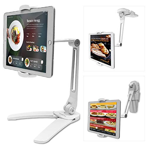 AboveTEK Kitchen Tablet Stand – HIGHFlex 360 Superior Strength Portable 4.7-13.5' Universal Tablet Stand & Phone Holder for Kitchen, Counter & Wall – 4 PT Wobble Free Mount (12.9-22.4 CM/White)