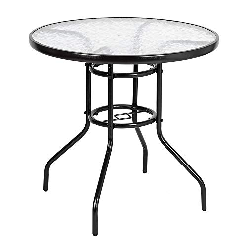 VINGLI Outdoor Dining Table, 31.5' Round Patio Bistro Tempered Glass Table Top with Umbrella Hole, Outside Banquet Furniture for Garden Pool Side Deck Lawn