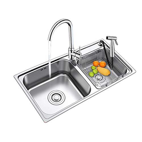 Keuken Gereedschap Dubbele Bowl 60/40 RVS Geborsteld Plating Keuken Sink Extra Dikke Dek Mand Strainers Sink Grids+Trek Down Spary Gun 78x43x21cm