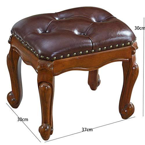 AXCJ Kleiner Sitz-Gummiholz-Kaffee-Tabellen-Schemel, europäische Art, quadratischer Schemel, Wohnzimmer-Sofa-Schemel, Hauptschemel, Änderungs-Schuh-Schemel, Kissen-Art, Rest-Bereichs-Länge 37Cm, Brei