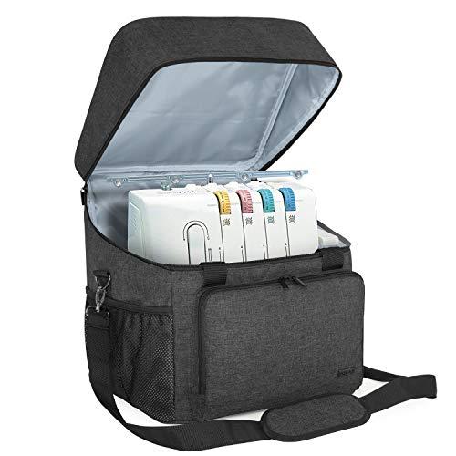 Luxja Overlock Tasche für Overlock Maschinen, Overlocktasche für Aufbewahrung Overlock-Nähmaschinen, Coverlocktasche für Transport Overlockmaschine und Zubehör, 33CM x 30,5CM x 34CM, Schwarz